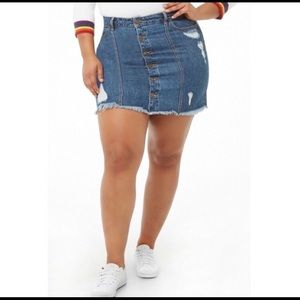 Forever 21 Denim Distressed Skirt Plus Size